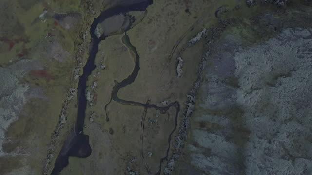 Satellite-like Drone Footage of Icelandic River