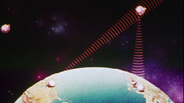 vídeos de stock e filmes b-roll de 1976 animated satellites beaming rays down to transmitters on earth / space background - animation moving image