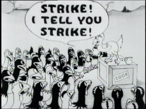 1925 ms satirical cartoon depicting union agitators organizing a strike among farm chickens - gewerkschaft stock-videos und b-roll-filmmaterial
