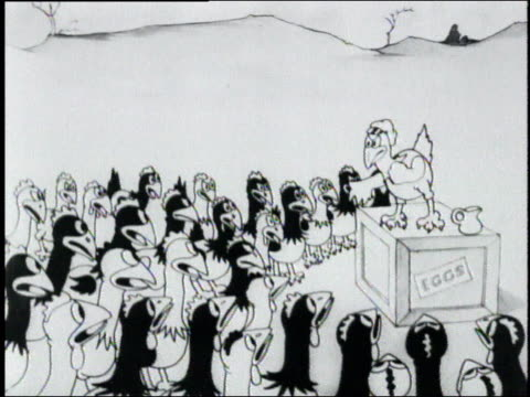 stockvideo's en b-roll-footage met 1925 ms satirical cartoon depicting union agitators organizing farm chickens - kip vogelsoort