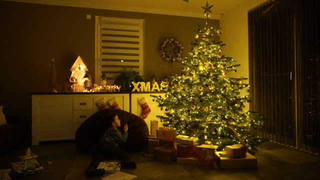 satisfied young boy at christmas tree in living room on xmas evening - ワイドショット点の映像素材/bロール