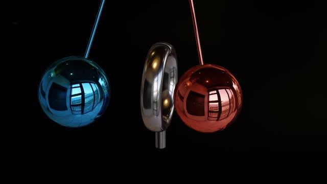 satisfying pendulum, cyberpunk colors, loopable - satisfaction stock videos & royalty-free footage