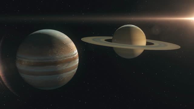 stockvideo's en b-roll-footage met saturnus en jupiter planeet combinatie - astronomietelescoop