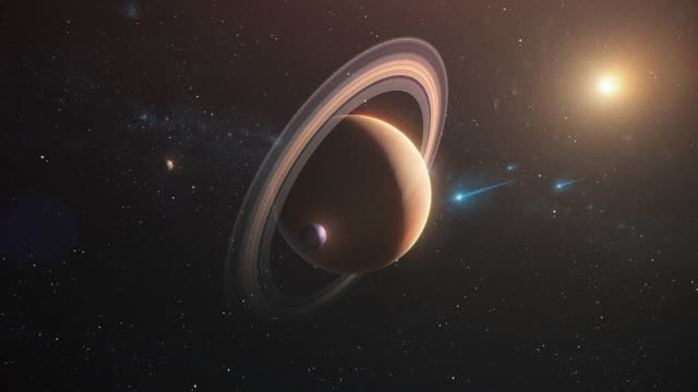 saturn in outer space against stars and milky way - nebula stock videos & royalty-free footage