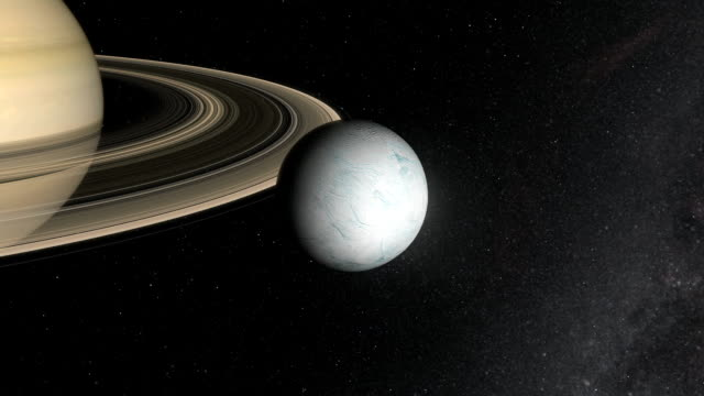 vídeos de stock e filmes b-roll de saturn's moon enceladus - sistema solar