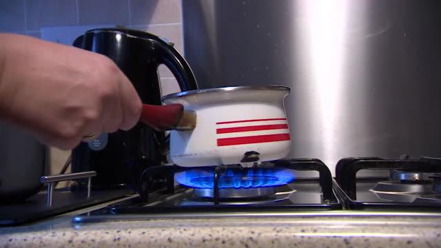 saucepan on gas hob - cooking pan stock videos & royalty-free footage