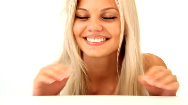 saucy smiling blonde girl - blonde hair stock videos & royalty-free footage