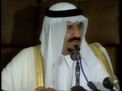 saudi arabia 942pm saudi arabia prince sultan with entourage walks thru room meets leaders of his troops us gen h norman schwartzkoff stands prince... - government minister stock videos & royalty-free footage