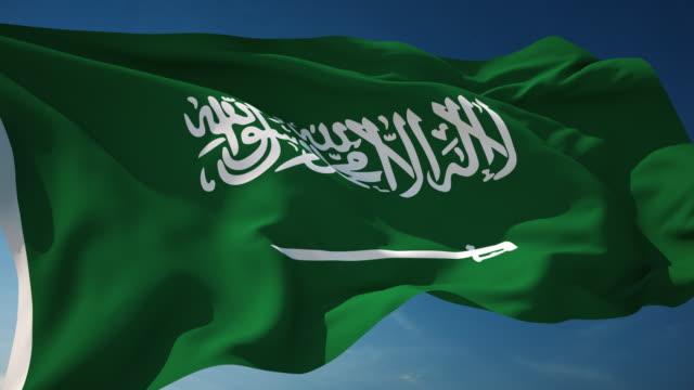 4 k サウジアラビアフラグ-ループ - 旗棒点の映像素材/bロール