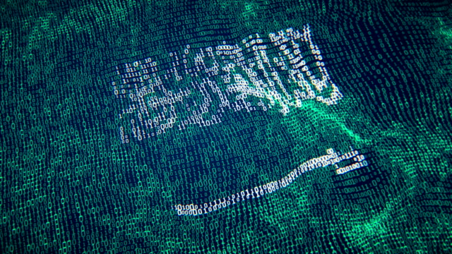 saudi arabia flag particle digital flag loopable 4k - saudi arabia stock videos & royalty-free footage