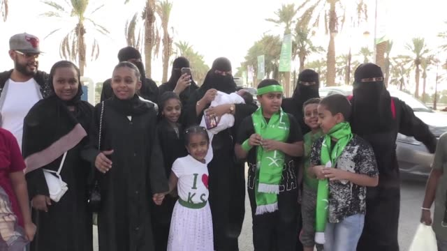 saudi arabia invites women to a sports stadium for the first time to attend annual national day celebrations with their families opening up a... - saudi arabien stock-videos und b-roll-filmmaterial