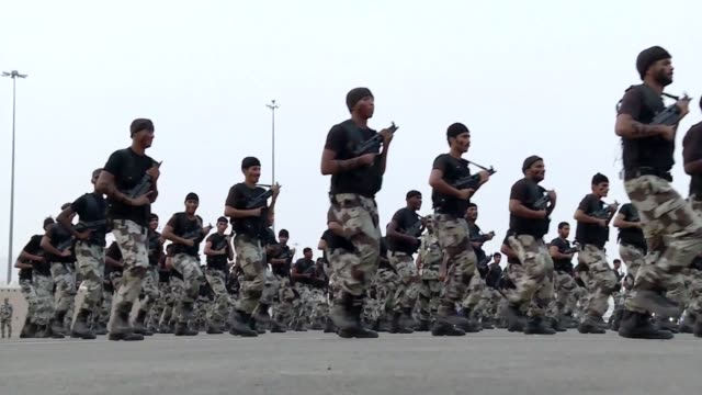 saudi arabia on monday held a military parade in the streets of mecca displaying its bolstered security forces ahead of this months hajj pilgrimage... - parade stock videos & royalty-free footage