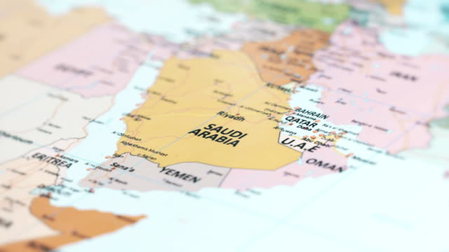 asia saudi arabia on world map - middle east stock videos & royalty-free footage