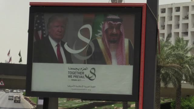 saudi arabia was preparing for the visit of us president donald trump to riyadh where he is due to take part in the arab muslim american summit - riyadh stock videos & royalty-free footage