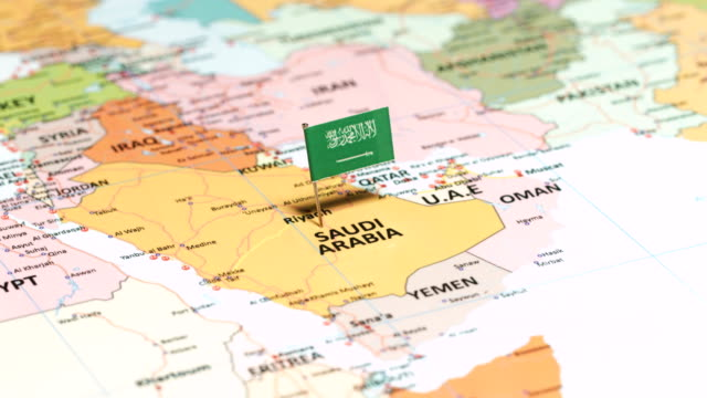 saudi arabia with national flag - saudi arabia stock videos & royalty-free footage