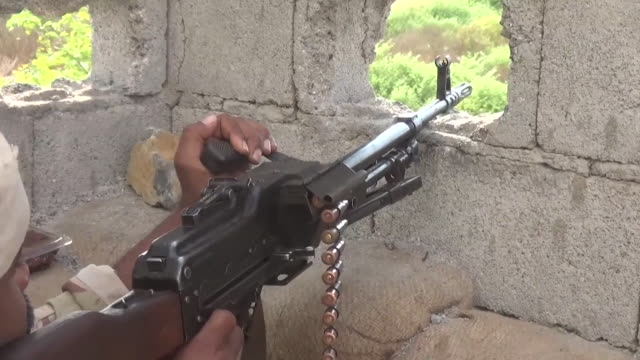 saudi arabian and uae coalition troops firing at houthi targets in sana'a yemen - war stock videos & royalty-free footage