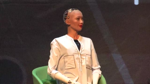 saudi arabian citizen humanoid robot sophia delivers her speech during a press conference before this year's 5th marketing meet up bringing together... - robot stock videos & royalty-free footage