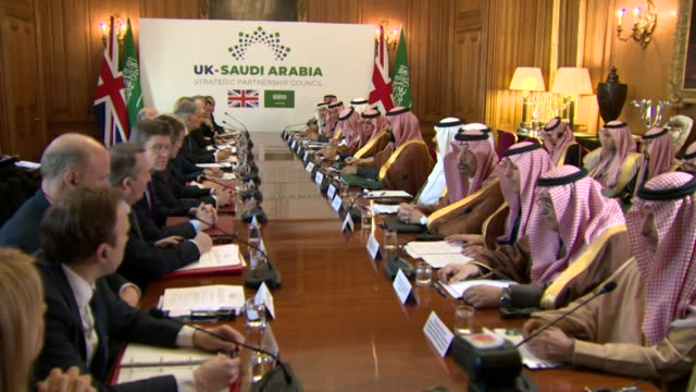 Saudi Arabian Crown Prince Mohammed Bin Salman and his delegation in a meeting with Theresa May and her cabinet at 10 Downing Street
