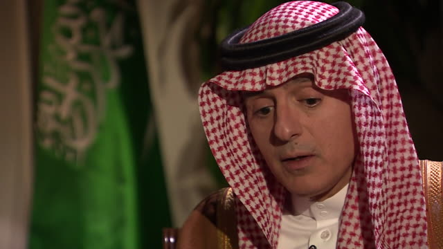 """saudi arabian foreign minister adel al-jubeir saying saudi arabia """"supports all the political efforts to try and find a solution to the yemen crisis"""" - yemen stock videos & royalty-free footage"""