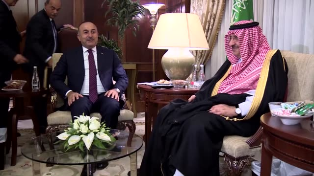 Saudi Crown Prince Mohammed bin Nayef bin Abdulaziz Al Saud meets with Turkish Foreign Minister Mevlut Cavusoglu in Ankara Turkey on September 29...