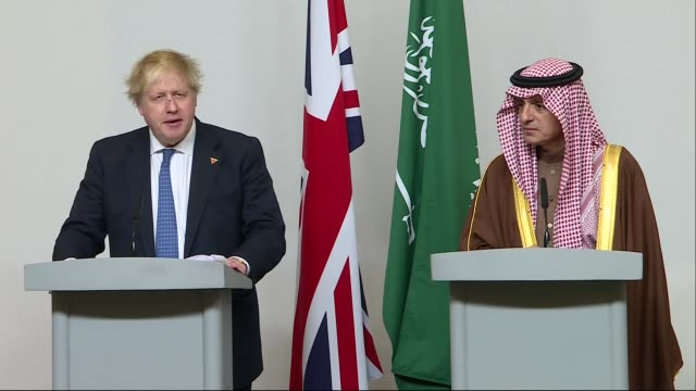 Boris Johnson and Adel alJubeir joint press conference ENGLAND London INT **Audio tracks slightly out of sync** Boris Johnson MP and Adel alJubeir...