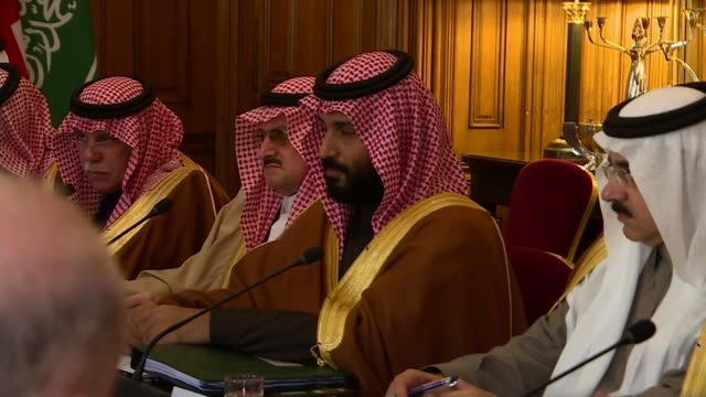 saudi crown prince visit: prince mohammed bin salman greeted by queen and protesters; england: london: downing street: number 10: int crown prince... - prince stock videos & royalty-free footage