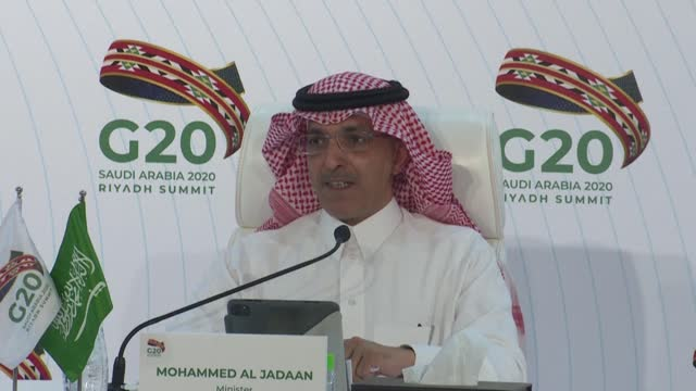 """saudi finance minister mohammed al-jadaan says that all the g20 leaders were """"supportive"""" of the initiative to ensure that a vaccine reaches everyone... - government minister stock videos & royalty-free footage"""