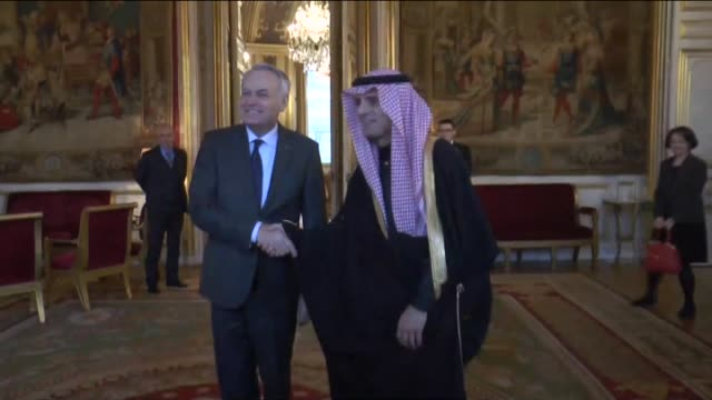 Saudi Foreign Minister Adel AlJubeir meets with French Foreign Minister JeanMarc Ayrault at the Foreign Ministry building in Paris France on March 04...