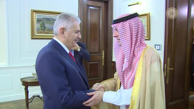 Saudi Foreign Minister Adel bin Ahmed AlJubeir is received by Turkish Prime Minister Binali Yildirim at Cankaya palace in Ankara Turkey on September...