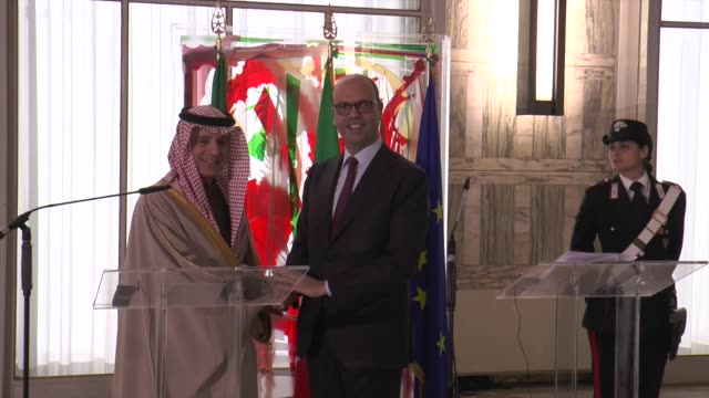 Saudi Minister of Foreign Affairs Adel alJubeir and Italian Foreign Minister Angelino Alfano hold a joint press conference following their meeting in...