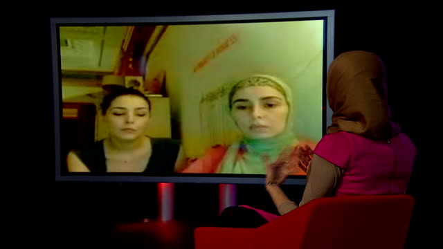saudi princesses human rights abuse claims as barack obama meets king abdullah england london gir reporter seated in studio looking at screen during... - human back stock videos & royalty-free footage