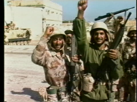 saudi troops proclaim victory in khafji, saudi arabia after defeating iraqis during the persian gulf war. - iraq stock videos & royalty-free footage