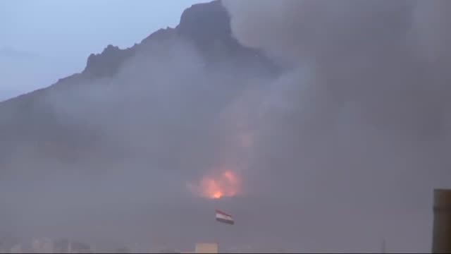 saudiled warplanes have bombed weapon storage sites held by shiite houthi militant group in yemeni capital sanaa on 11 may 2015 - golfstaaten stock-videos und b-roll-filmmaterial