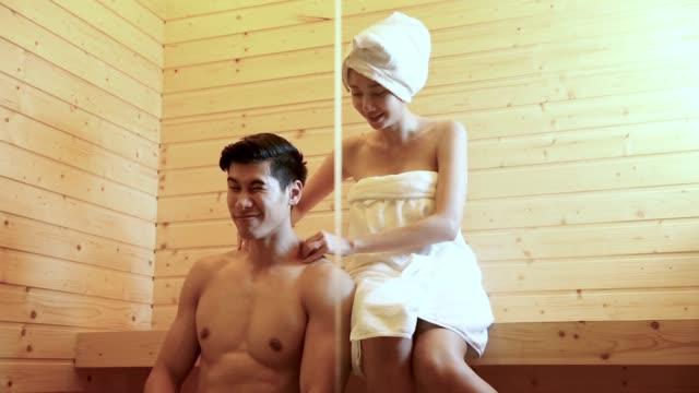 sauna room - massaggiare video stock e b–roll