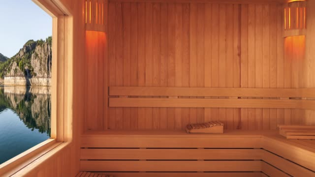 sauna with mountain view - sauna stock videos and b-roll footage