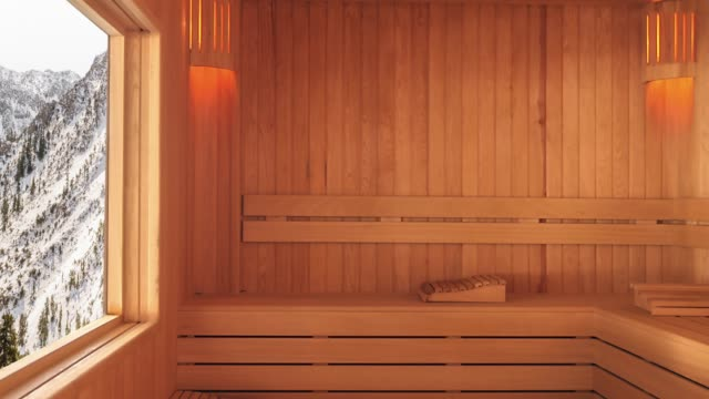 sauna with mountain view - sauna stock videos & royalty-free footage
