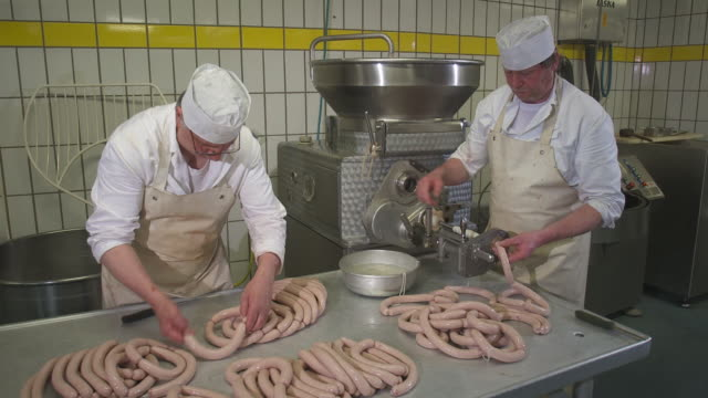 sausage production in the butchery - sausage stock videos and b-roll footage