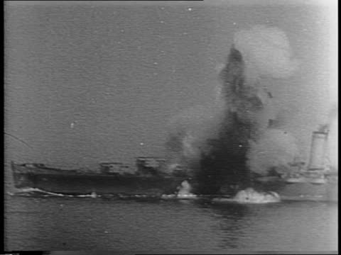 uss savannah at sea / nazi planes fly overhead / ship shoots at nazi planes / explosion in water / planes diving / bombs burst on savannah - explosive stock videos & royalty-free footage