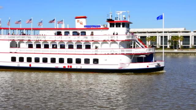 savannah georgia riverboat ride on tourist boat savannah riverqueen on the savannah river boat on river - savannah georgia stock videos & royalty-free footage