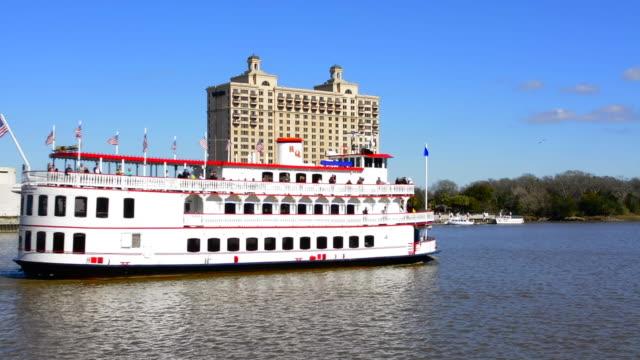savannah georgia riverboat ride on tourist boat savannah riverqueen on the savannah river boat on river - savannah stock videos & royalty-free footage