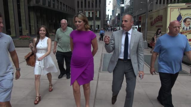 savannah guthrie and matt lauer talk about her pregnancy and matt lauer recognizes the reporter from tmz while walking back to the today show in... - matt lauer stock videos & royalty-free footage