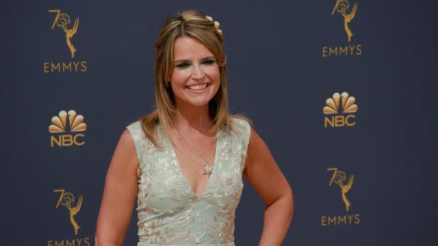 savannah guthrie at the 70th emmy awards - arrivals at microsoft theater on september 17, 2018 in los angeles, california. - savannah guthrie stock videos & royalty-free footage