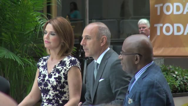 savannah guthrie, matt lauer and al roker at the 'today' show studio in new york, ny, on 8/27/13. - al roker stock videos & royalty-free footage
