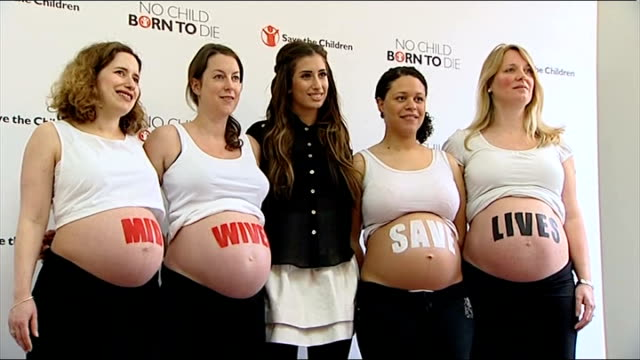 Save the Children campaign for more midwives in poorer countries ENGLAND London Stacey Solomon posing for photocall with pregnant women with...