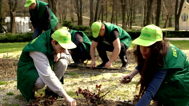 Save the Planet-young and smart people cleaning a park