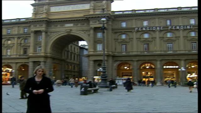 Savile Row tailors exhibition in Florence Piazza Garibaldi Reporter to camera