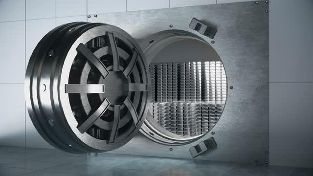 銀行で銀金属を節約 - 4k解像度 - 金庫点の映像素材/bロール