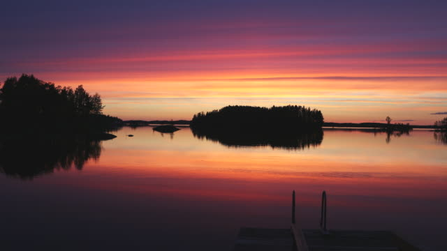 Savonlinna, sunset views in the Saimaa lakes, Finland.