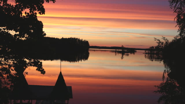 stockvideo's en b-roll-footage met savonlinna, view of the saimaa lakes in sunset. - gazebo