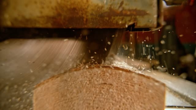 slo mo saw cutting through a log in the mill - mill stock videos & royalty-free footage